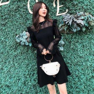 韓国ワンピース❤韓国ドレス とってもフェミニン可愛いレースとフリルのオルチャンドレス