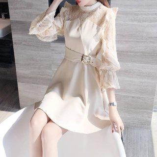 韓国ワンピース❤韓国パーティードレス フリルとレース可愛いスマートなミニドレス