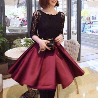 韓国ワンピース❤韓国パーティードレス レースのワインレッドのフレアスカートがガーリーな可愛いミニドレス