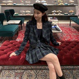 韓国セットアップ❤チェック柄可愛いジャケットとスカートのツーピース