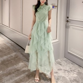 韓国ワンピース❤韓国パーティードレス とってもフリルが可愛いエレガントなマキシドレス
