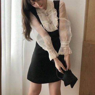 韓国ワンピース❤韓国パーティードレス リボンがキュート可愛いお嬢様ミニワンピ