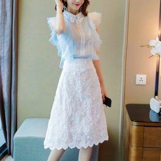 韓国ツーピース❤韓国パーティードレス 清楚上品お嬢様なフリルワンピ