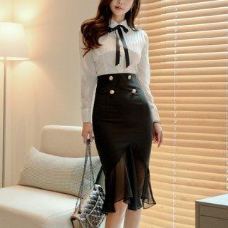 韓国ツーピース❤韓国パーティードレス リボン可愛いタイトマーメードスカートのセットアップ