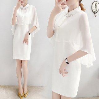 韓国ワンピース❤韓国パーティードレス ポンチョ風ケープがとっても個性的可愛い上品清楚なタイトドレス