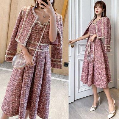 韓国セットアップ❤パールが可愛いフォーマルな装いなツイード素材のツーピース