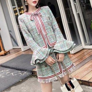 韓国セットアップ❤フレア袖のお洒落可愛いツイード素材ツーピース