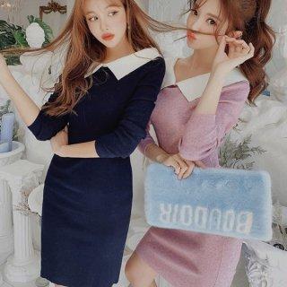 韓国ワンピース❤襟がとっても可愛いタイトなニットワンピ