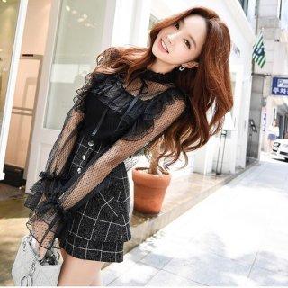 韓国ツーピース❤フリルフェミニン可愛いレースのトップスとお洒落デザインなチェック柄パンツスカート 単品の販売なのでカラー選択に注意