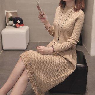 韓国ワンピース❤裾レースが上品なシンプルニットワンピ