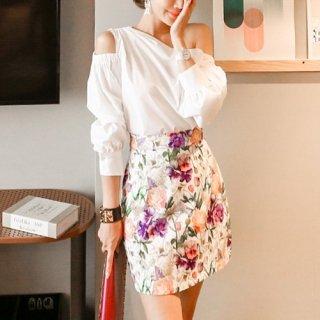 韓国セットアップ❤ワンショルブラウスと花柄が可愛いツーピース