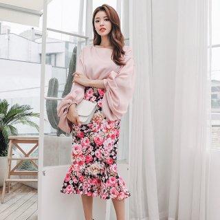 韓国セットアップ❤ボリューム袖がアクセントのとっても可愛い花柄ツーピース