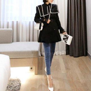 韓国アウター❤大きいセーラー襟と袖レースが可愛いコート