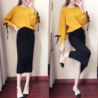 韓国セットアップ❤袖リボンニットとIラインスカートの大人ツーピース