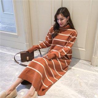 韓国ワンピース❤ボーダー柄がレトロ可愛いロング丈ニットワンピース