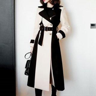 韓国アウター❤バイカラーが大人可愛いロング丈のチェスターコート