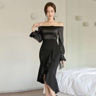 韓国ワンピース❤韓国ドレス セクシー&エレガントに 可愛いフィッシュテールワンピースドレス