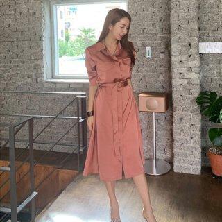 韓国ワンピース❤ふんわりAラインが可愛いシャツワンピース