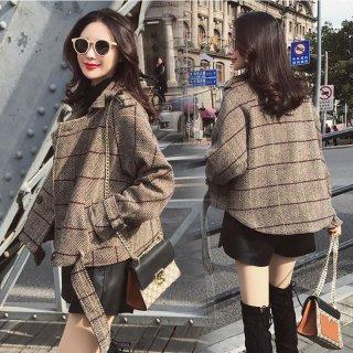 韓国アウター❤大きな襟が可愛いショート丈のダブルボタンウールコート