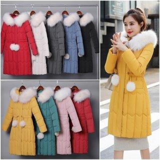 韓国アウター❤選べる9color ボリュームあるファーが可愛いダウンコート