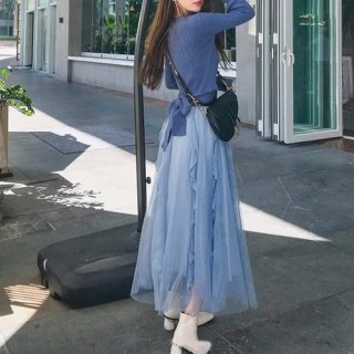 韓国セットアップ❤バックリボンが可愛いニットとシフォンスカートのツーピース