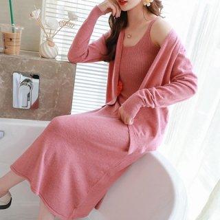 韓国ルームウェア❤リラックスして着れる可愛いキャミワンピとカーディガンのセット