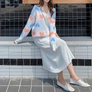 韓国セットアップ❤ハートモチーフがとっても可愛いカーディガンとスカートのニットツーピース