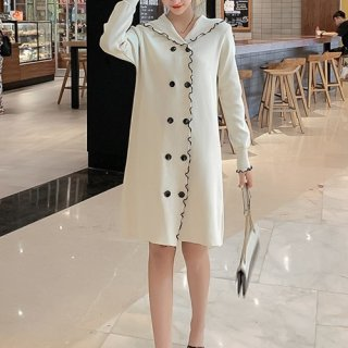 韓国ワンピース❤縁取りデザインが大人可愛い ニット素材のセーラー襟付きモノトーンワンピース