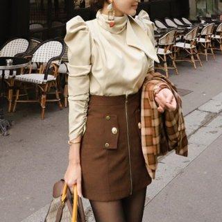 韓国セットアップ❤ハイネックで知的美人に ブラウスとタイトスカートのツーピース
