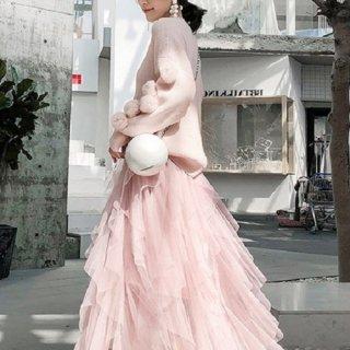 韓国セットアップ❤ポンポン付きが可愛いニットとロング丈シフォンスカートのツーピース