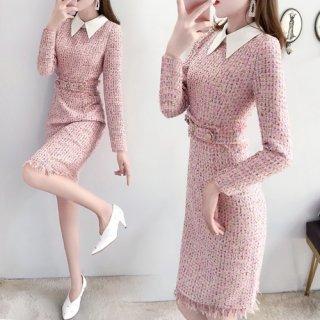 韓国人気で欠品になったらすいません。ワンピース❤ツイード素材の可愛い襟付きワンピース