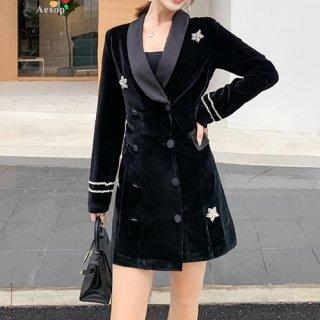韓国アウター❤秋冬におススメ!ベロア素材の上品なミディ丈ジャケット