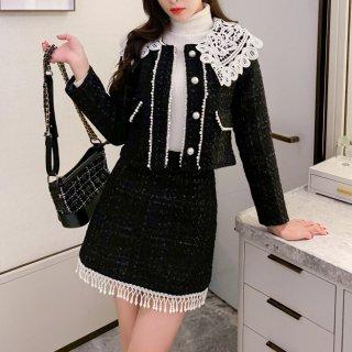 韓国セットアップ❤レース襟が可愛いツイード素材のツーピース
