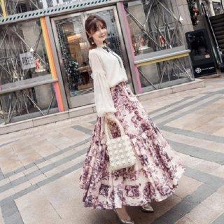 韓国セットアップ❤レトロな雰囲気がオシャレ! シフォンブラウスとスカートの可愛いツーピース 962664