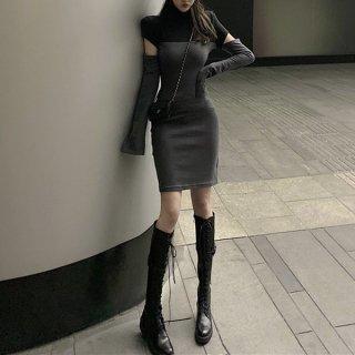 韓国ワンピース❤袖スリット入りの可愛いバイカラーニットワンピ 962693