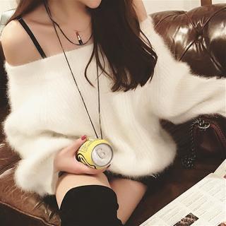 韓国トップス❤抱きしめたくなるふわふわシャギー 可愛い2WAYニット 962709