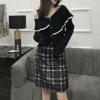 韓国トップス❤フリルをあしらったショート丈の可愛いニットカーディガン 962722