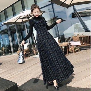 韓国セットアップ❤チェック柄×リボンが可愛い!ニットとワンピースのツーピース 962742