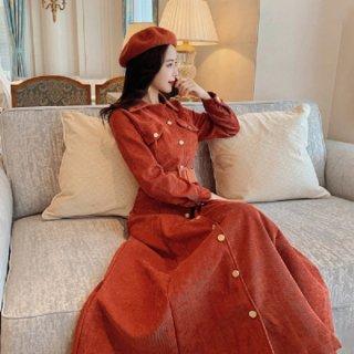 韓国ワンピース❤秋冬のマストアイテム!コーデュロイ素材の可愛いシャツワンピース 962745