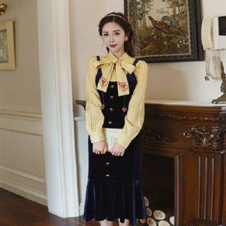 韓国ワンピース❤大人っぽい配色がとってもcute!ブラウスとベロアワンピースのツーピース 962746
