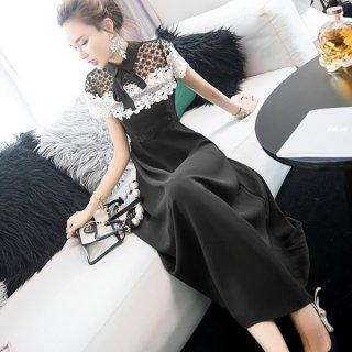韓国ワンピース❤韓国パーティードレス モノトーンの花柄レースが可愛いロング丈ドレス 962749
