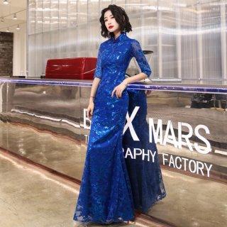 韓国ワンピース❤韓国パーティードレス 総レースがエレガントなロング丈ドレス 962752