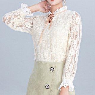 韓国トップス❤ブラウス 花柄レースが上品で可愛いお嬢様風トップス 962757