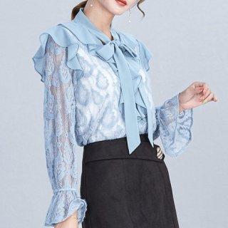 韓国トップス❤ブラウス リボンとフリルが女性らしく華やかなシースルートップス 962758