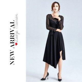 韓国ワンピース❤韓国ドレス アシンメトリーがオシャレで透け感がセクシーなドット柄ワンピ 962763