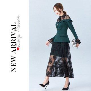 韓国ワンピース❤韓国ドレス 花柄レースが大人可愛いシースルーワンピ 962766