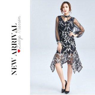 韓国ワンピース❤韓国ドレス 大人っぽい花柄と透け感がセクシーで魅力的なアシンメトリーワンピ 962767