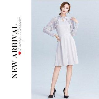 韓国ワンピース❤韓国ドレス シンプルだけど可愛いフリル付きシースルーワンピース 962770