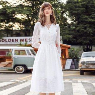 韓国ワンピース❤ホワイトカラーで清楚感溢れる可愛いワンピース 962784