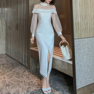 韓国ワンピース❤韓国ドレス オフショル風デザインが透け感が上品な可愛いシースルーワンピース 962786